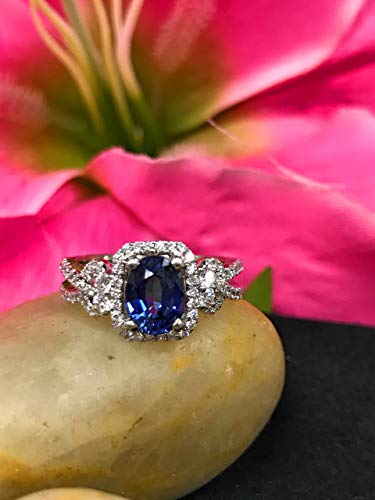 Oval Ceylon Blue Sapphire and Genuine Diamond Halo Style Ring Set In 14k White Gold #5375 ()