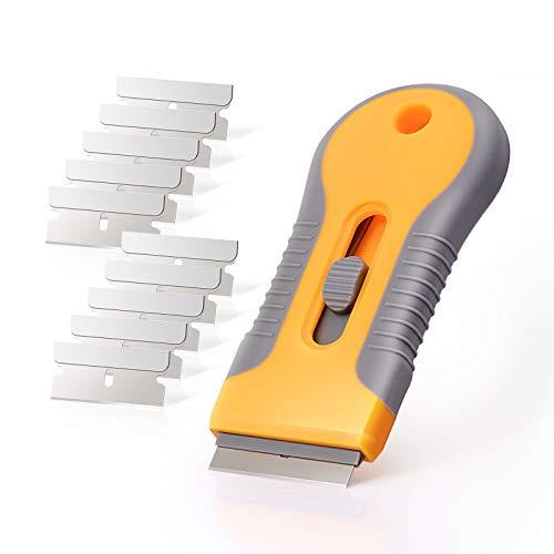 Ehdis Car Sticker Remover Razor Blade Spatula Scraper Window Tint Tools Utility Knife for Window Glass Film Glue Removing + 10pcs Replaceable Razor Blades