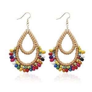 Best Epic Trends 41WnhR4shQL._SS300_ Bohemian Rattan Wooden Beads Fish Hook Circle/Teardrop Earrings Dangle Drop Jewelry for Women Girls