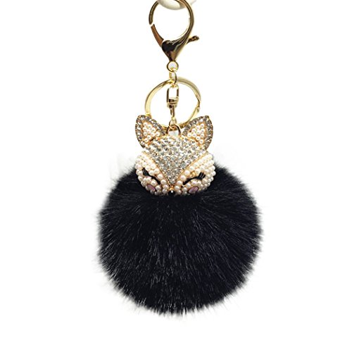 Raylans Women Faux Rabbit Fur Pom Pom Ball Fox Head Rinestone Bag Car Charm Keychain Pendant,Black - Fox Black Charms