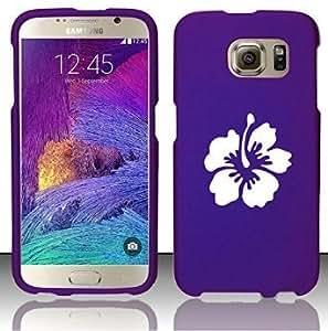 Samsung Galaxy S6 Snap On 2 Piece Rubber Hard Case Cover Hibiscus Hawaiian Flower (Purple)