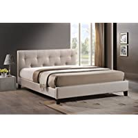 Baxton Studio Annette Linen Modern Bed with Upholstered Headboard, Light Beige, 35.8 x 57 x 81