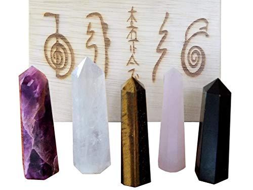 Natural Crystal Wand Set of 5 - Includes 3 Inch Large Wands in Genuine Amethyst, Clear Quartz, Black Obsidian, Rose Quartz & Tiger Eye - Energy Amplification, Reiki, Meditation, Protection