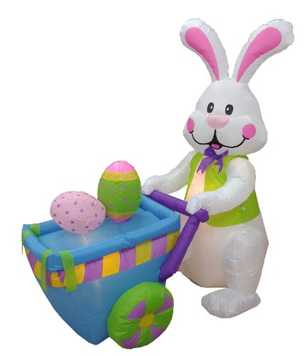 BZB Goods 4 Foot Party Inflatable Bunny Pushing Cart with Eggs Lighted Outdoor Indoor Holiday Decorations Blow up Yard Lawn Inflatables Home Family Outside Decor