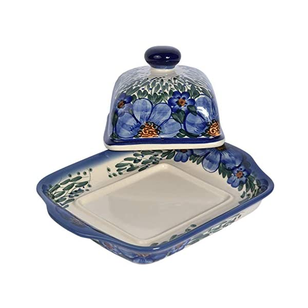 Traditional Polish Pottery, Handcrafted Ceramic Butter Dish with Lid, Boleslawiec Style Pattern, B.101.CREDO