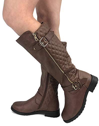 27cbc0f66f2 Wells Collection Womens Quilted Knee High Boots Soft Faux Suede Flat Heel  with Side Zipper