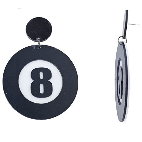 Lux Accessories Black White Eight 8 Ball Pool Plastic Halloween Costume Earrings]()
