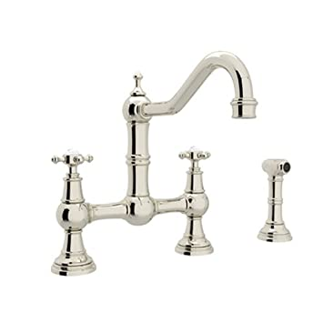 Rohl U.4755X PN 2 Perrin And Rowe Provence Cross Handle Bridge Kitchen