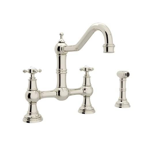 rohl u4755xpn2 perrin and rowe provence cross handle bridge kitchen faucet with sidespray rinse and 9inch reach country spout polished nickel touch - Rohl Faucets