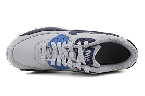 Nike Big Kids Air Max 90 Scarpe Da Corsa In Pelle, Leggero, Confortevole E Resistente Pieno Fiore E Pelle Sintetica Lupo Grigio / Blu Binario