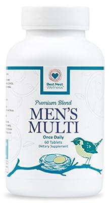 Best Nest Men's Multi Vitamins | Methylfolate, Methylcobalamin (B12), Whole Food Multivitamins, Probiotics, 100% Natural Organic Blend, Once Daily Multivitamin, 60 Tablets