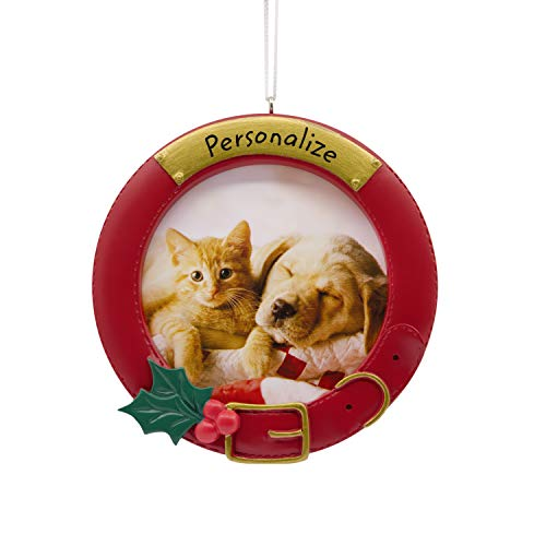 Hallmark Christmas Ornaments, Pet Collar Personalized Picture Frame Ornament]()