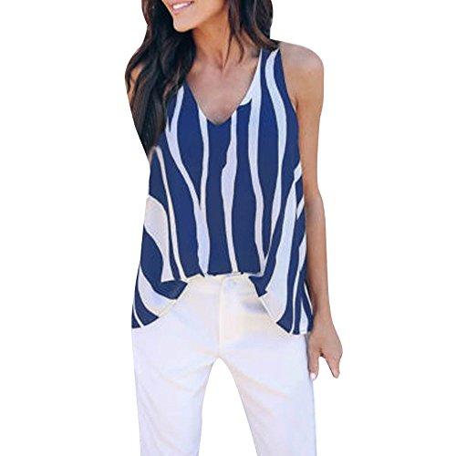 (Peize Clearance Women Summer Cold Shoulder V Neck CAI Tops, Sexy Sleeveless Striped Vest Tank Tops Shirt Blouse (L, BU))