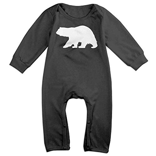 Price comparison product image Polar Bear Silhouette Long Sleeve Baby Bodysuit Bodysuit Black