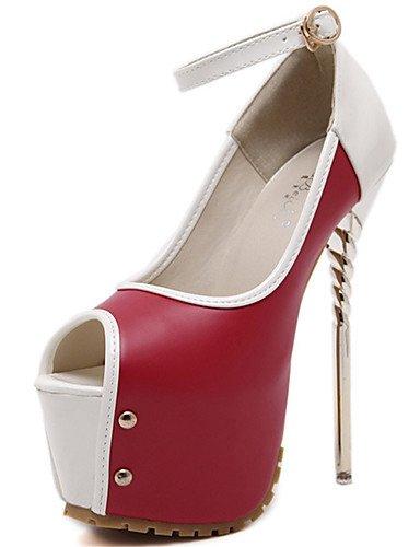 GGX/ Zapatos de mujer-Tacón Stiletto-Punta Abierta / Confort-Tacones-Vestido / Fiesta y Noche-PU-Negro / Azul / Rojo , red-us8.5 / eu39 / uk6.5 / cn40 , red-us8.5 / eu39 / uk6.5 / cn40 black-us6.5-7 / eu37 / uk4.5-5 / cn37