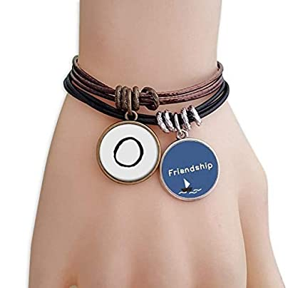Greek Alphabet Omicorn Black silhouette Friendship Bracelet Leather Rope Wristband Couple Set Estimated Price -