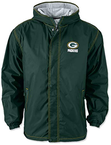 Jacket Nfl Hooded Football - Dunbrooke Apparel NFL Green Bay Packers Legacy Nylon Hooded Jacket, X-Large, Forest Green