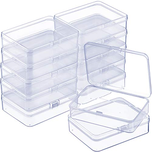 (SATINIOR 12 Pack Clear Plastic Beads Storage Containers Box with Hinged Lid for Beads and More (4.45 x 3.3 x 1.18 Inch))