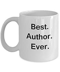 Best Author White Mugs - Funny Valentine Coffee Mugs - Porcelain white, Best Office Tea Mug & Birthday Gag Gifts 11 oz