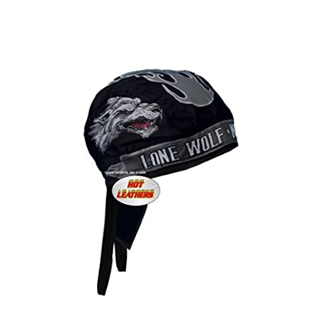 Black Hot Leathers HWH1050 Skull and Roses Head Wrap
