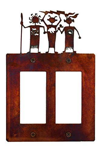 Style Decora Switch (Decorative Rustic Finish Steel Decora Rocker Style Light Switch Cover/Wall Plate - Double Switch, Weather Spirits)