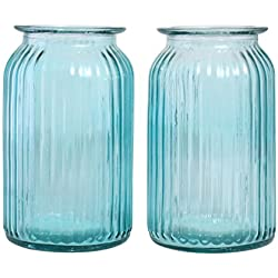 Blue Clear Transparent Vase, Set of 2