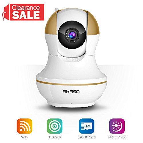 AKASO IP1M-902 Wireless IP Camera Home Wifi Security HD 720P Baby Monitor Video Surveillance Network Webcam - Plug/Play, Night Vision, Two Way Audio, Pan/Tilt (Networks Web)