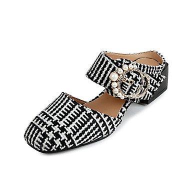 LvYuan sandalias de verano de talón abierto de lana informal al aire libre tacón grueso de la perla caminar White