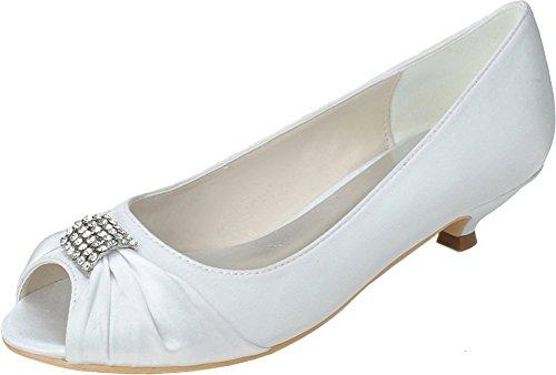 0700 Eu 37 Work Fashion Smart Ladies Toe White 5 Dress Party Rhinestone Satin Comfort Sandals Kitten Peep 09 Wedding Prom Heel Bridesmaid Bride BrWRPBw