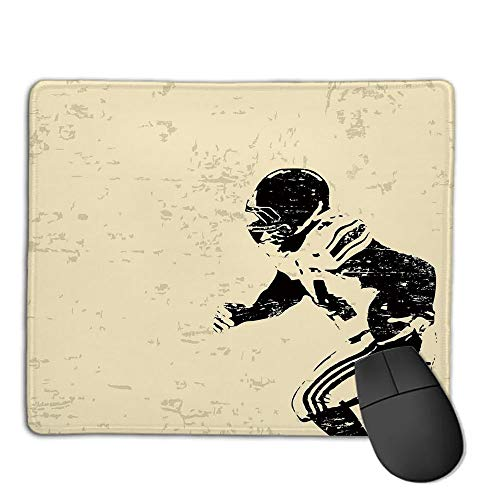 Mouse Pad Custom,Mouse Pad Non-Slip Thick Rubber Large MousepadSports,Rugby Player in Action Running Success in Arena Playground Sport Best Team Picture,Beige Black,Suitable for Any Mouse Type, Home