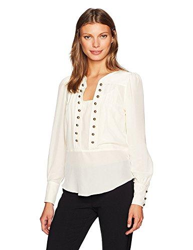 虚栄心味付け第二にTracy Reese Women's Button Blouse in Vanilla Vanlla S [並行輸入品]
