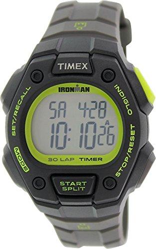 Timex Men's T5K824 Ironman Classic 30 Full-Size Gray/Black/Green Resin Strap Watch