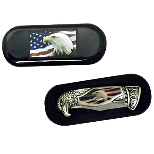 USA Flag & American Bald Eagle Head Shaped Folding Pocket Knife w/ Gift Box Case (Collector Knives)