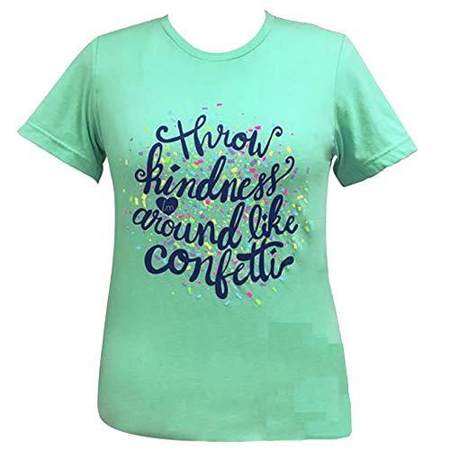 Lulu Mac Boutique Kindness Confetti Short Sleeve T-Shirt (Small) Heather Mint