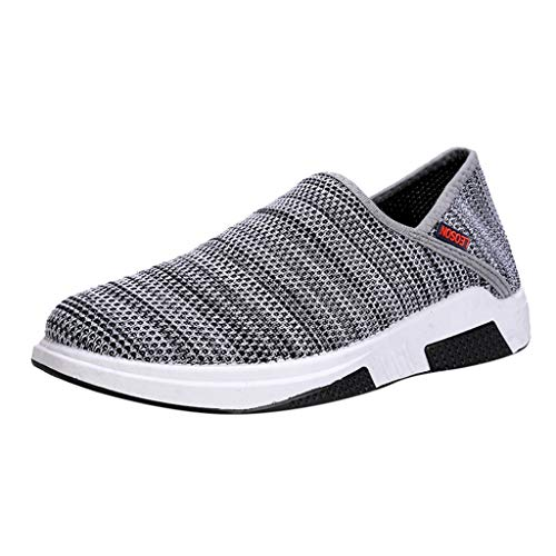 ♡Londony♡ Men's Athletic Walking Shoes Casual Mesh-Comfortable Work Sneaker Running Lightweight Breathable Sports Shoes Gray