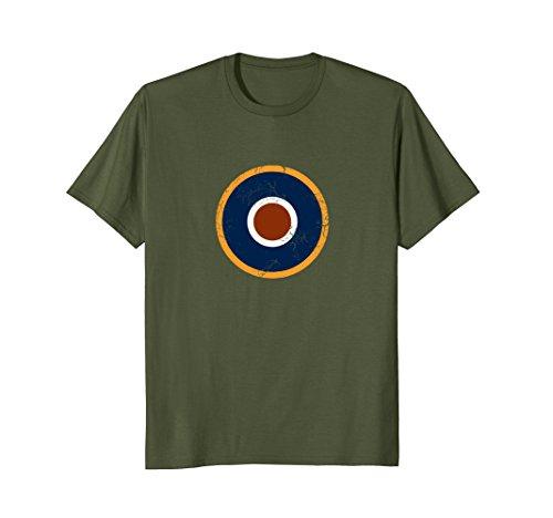 Raf Type - Mens RAF Type C1 Military Roundel T-Shirt Air Force Pilot Shirt Large Olive