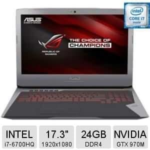 Asus ROG G752VT-TH71(WX) Type 6th Generation Intel Core i7 6700HQ (2.60 GHz), 24GB RAM, 1TB HDD, NVIDIA GeForce GTX 970M Dedicated 3GB video memory,17.3