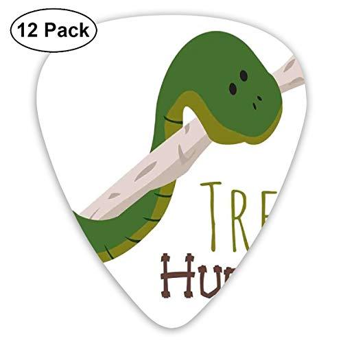 (Guitar Picks 12-Pack,Cute Cartoon Snake Hanging From Tree Hug Love Mascot Humor Comic Design Print)