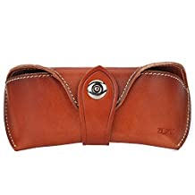 ZLYC Vegetable Tanned Leather Buckle Closure Hard Eyeglass Case Sunglasses Holder, Brown