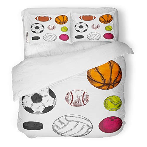 Semtomn Decor Duvet Cover Set Twin Size Sketch of Ice Hockey Puck Balls for Soccer American Football Rugby Volleyball 3 Piece Brushed Microfiber Fabric Print Bedding Set Cover