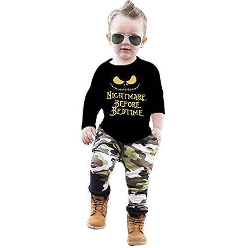 Toddler Baby Boy Clothes 2Pcs Outfit Set Nightmare Printing Long Sleeve and Camouflage Pants Clothing Set(6-12Month,80)