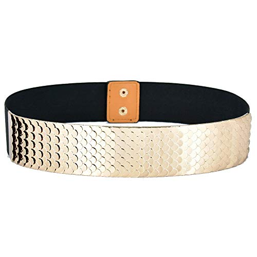 Talleffort Fashion Women's Center-Scaled Texturized Metallic Stretch Belt Wide Elastic Waist Belt G-L