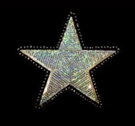 Star - Silver - Sequin and Rhinestone Iron on Transfer