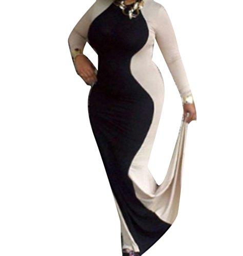 Confortables Femmes Couleur Fishtail Collision Taille Plus Élégante Robes D'affaires Motif1
