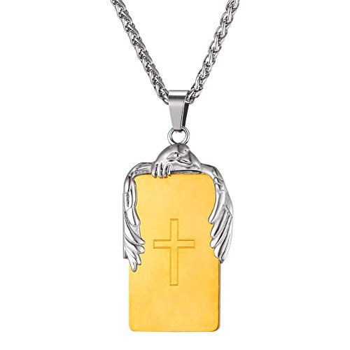 18K Gold Plated Cross Engraved Dog Tags Pendant for Men with Eagle on It (Gold Eagle Eagle)