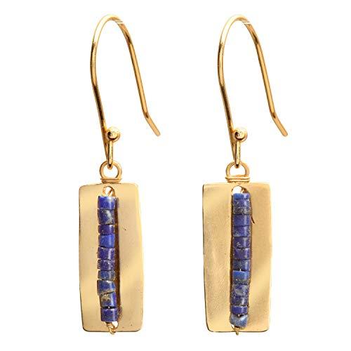 - FLORIANA Women's Miniature Lapis Lazuli Bead Brass Dangle Earrings -French Hook