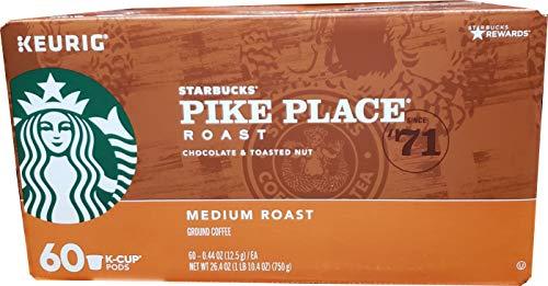 Starbucks Pike Place Medium Roast Coffee 60Count K-Cups Net Wt 26.4 Oz, Chocolate & Toasted Nut, 26.4 oz