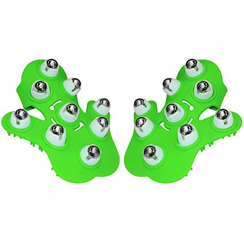 Fuzu 9 Ball Roller Massage Glove for Stress Relief and Cellulite Reduction, Green, 2-Gloves - Left Hand Massage Glove