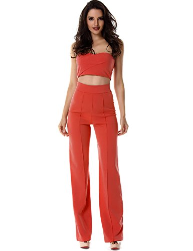 Miss Water Bandag-Crop Top-Jumpsuit 2 Piece Set Tube Top Legging Orange off Shoulder Cocktail Bodysuit Petite Size UK 32/34 (Voice Tube Orange)