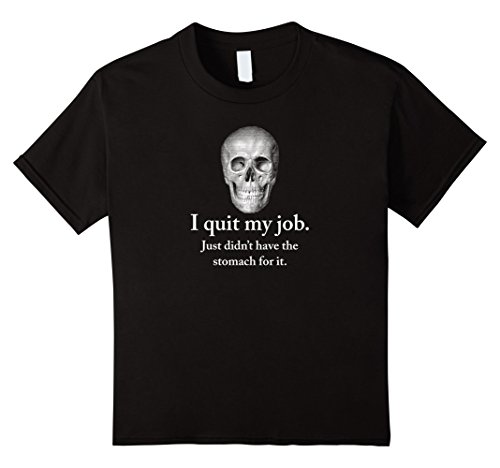Kids Halloween Skull tells terrible joke. No Stomach Pun Shirt 6 Black (Terrible Halloween Puns)